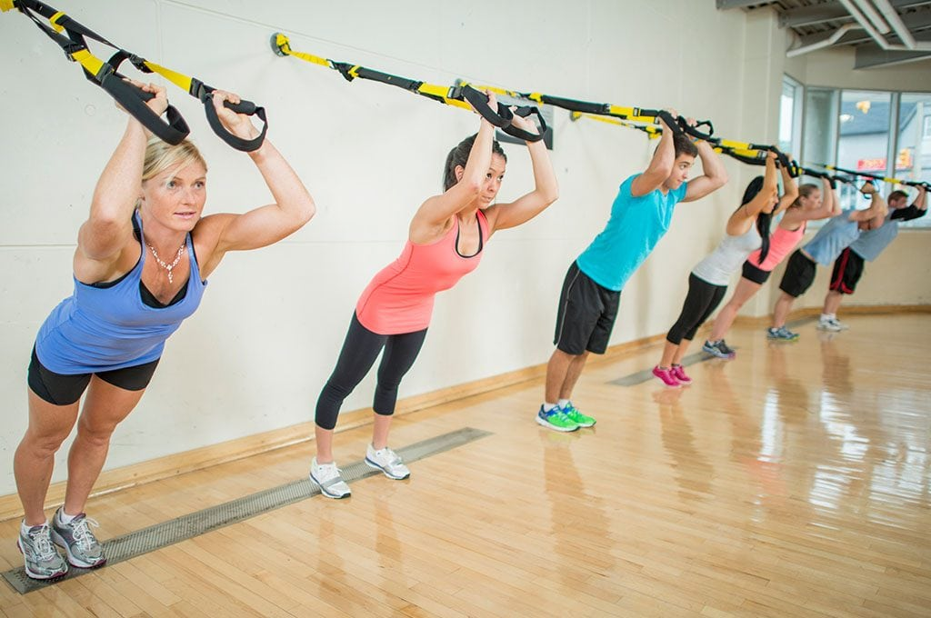 group of people using TRX bands
