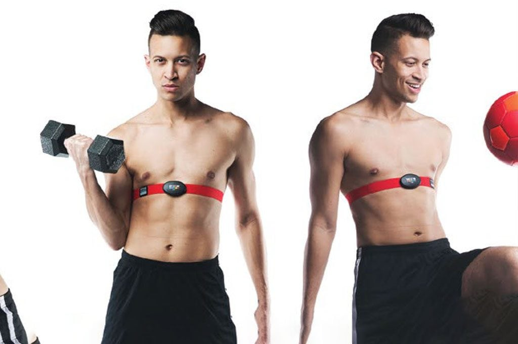 Man with no shirt wearing a MYZONE fitness tracker around chest